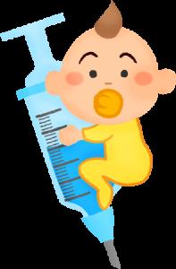 赤ちゃんと注射器